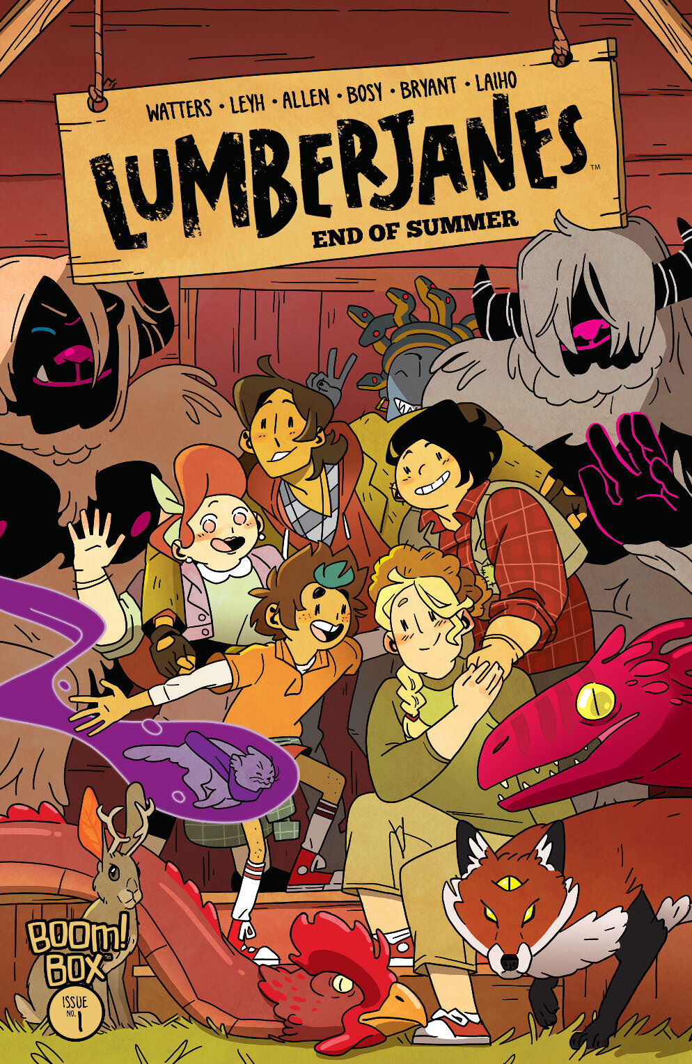 SYNOPSIS: The END OF SUMMER is here in the final issue of  Lumberjanes ! Co-Creator & Series Artist Brooklyn Allen Returns...along with the Kitten Holy! Now the scouts of Miss Qiunzella Thiskwin Penniquiqul Thistle Crumpet's Camp for Hardcore Lady Types will have to fight back against the mysterious force known as the Grey! Meanwhile, Molly has discovered a deep and ancient forest magic, which she hopes to use to protect her friends and the home they've all found here. Will she be able to, though? Or is this all-encompassing, all-erasing Grey just too much for one 'Jane to fight on her own?