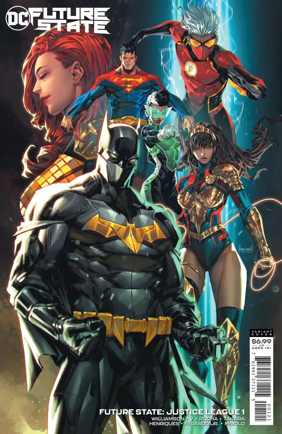 """SYNOPSIS:   """"Together, they protect the future, yet apart, their identities are secret even from one another—but why?"""" the description continues. """"When their greatest adversaries wind up murdered in an abandoned Hall of Justice, all clues point to...the Justice League! The new team's adventures begin here!"""""""