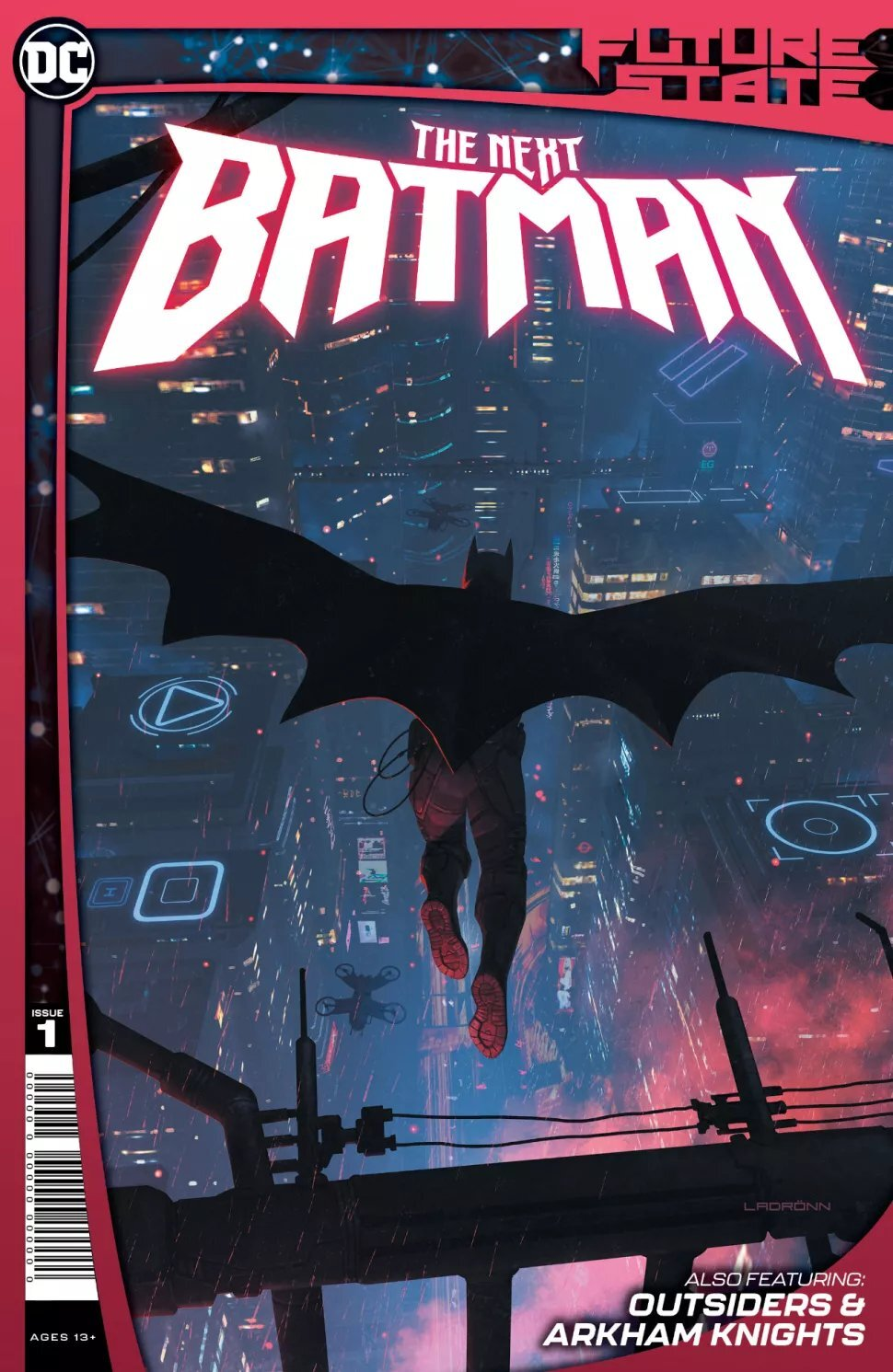 """SYNOPSIS:    Gotham City has always been dangerous—but now, it's downright deadly!  Following the tragedy of """"A-Day,"""" the mayor allowed the private law enforcement group known as the Magistrate to take over policing so-called mask crime—and that has given rise to a new Dark Knight! What is this mysterious crime fighter's connection to former Batman weaponeer Lucius Fox? The fight for justice has never been this dangerous!  Then, in an new tale of the Outsiders, everything in Gotham City may be under the thumb of the Magistrate—but even members of that totalitarian force know that the outskirts of town are protected by the sword of Katana!  Plus, ride with the Arkham Knights on their quest for freedom. Arkham Asylum has been decommissioned, and the Magistrate rules the land with an iron fist and zero tolerance."""