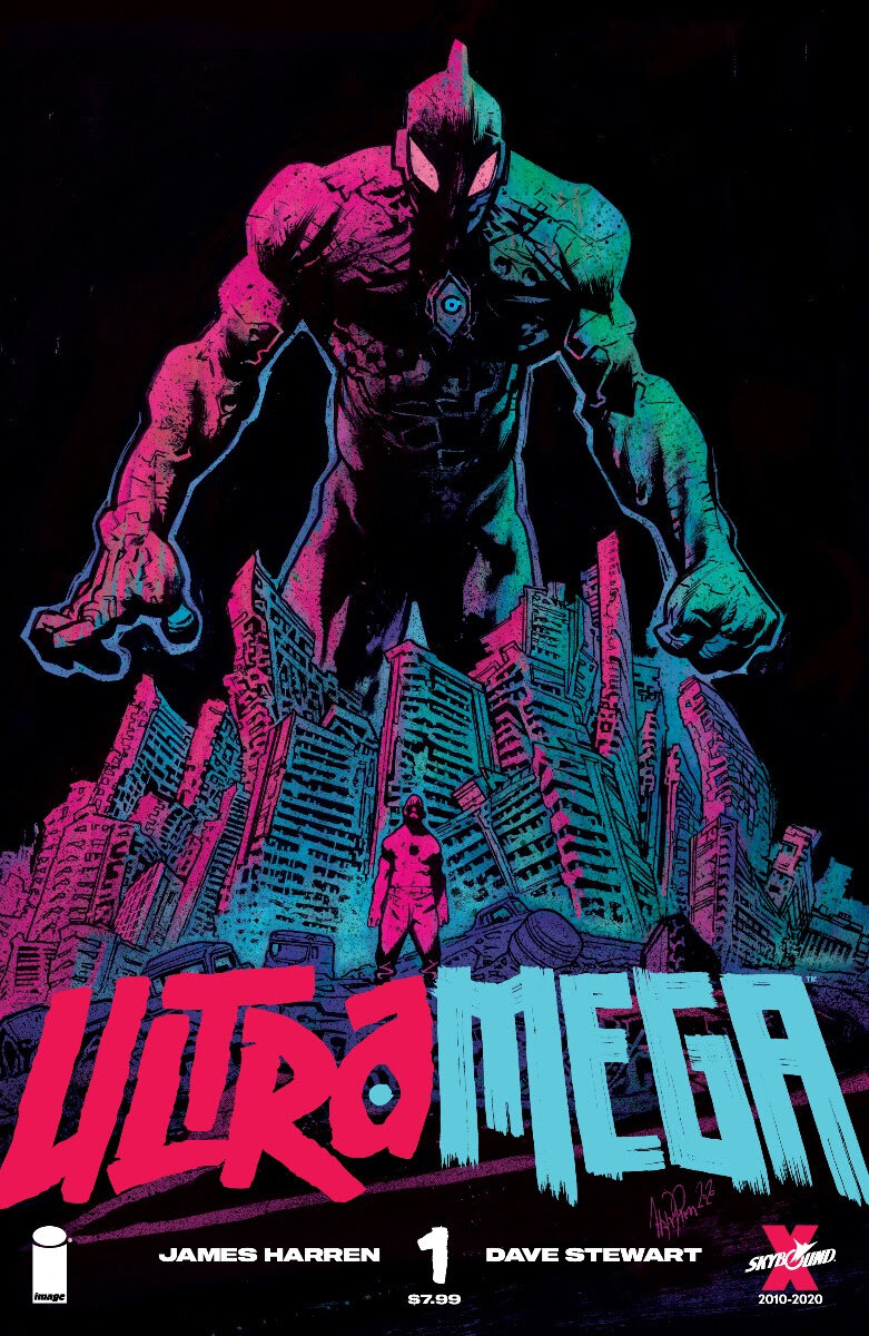 SYNOPSIS:    In the world of  Ultramega , a cosmic plague has spread and transformed everyday people into violent, monstrous kaiju. Only the Ultramega—three individuals imbued with incredible powers—hold the line against this madness. Their battles level cities and leave untold horror in their wake. Now, the final reckoning approaches for the Ultramega… but is this a war they can even win?    Pacific Rim ? Puny. Godzilla? A guppy. Readers beware: no series launch in 2021 could possibly be bigger than Ultramega. Literally.