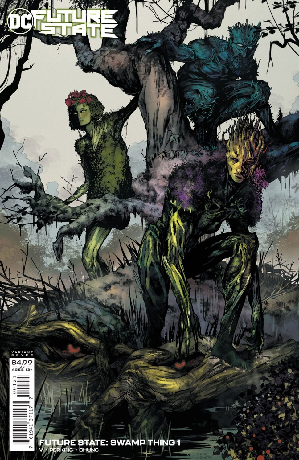 """SYNOPSIS:  """"InFuture State: Swamp Thing #1,from the ashes of a terrible war, life blooms anew in Swamp Thing's image,"""" reads DC's official description. """"The remnants of humanity lie in hiding, forever in the shadow of the green god who now rules the planet.   When the new avatar of the Green uncovers a stray human, a rebellion is revealed! But this Swamp Thing is no stranger to violent ends, and neither are his creations. If it's war humanity wants, it will be at their doorstep—and Swamp Thing will never be the same!"""""""