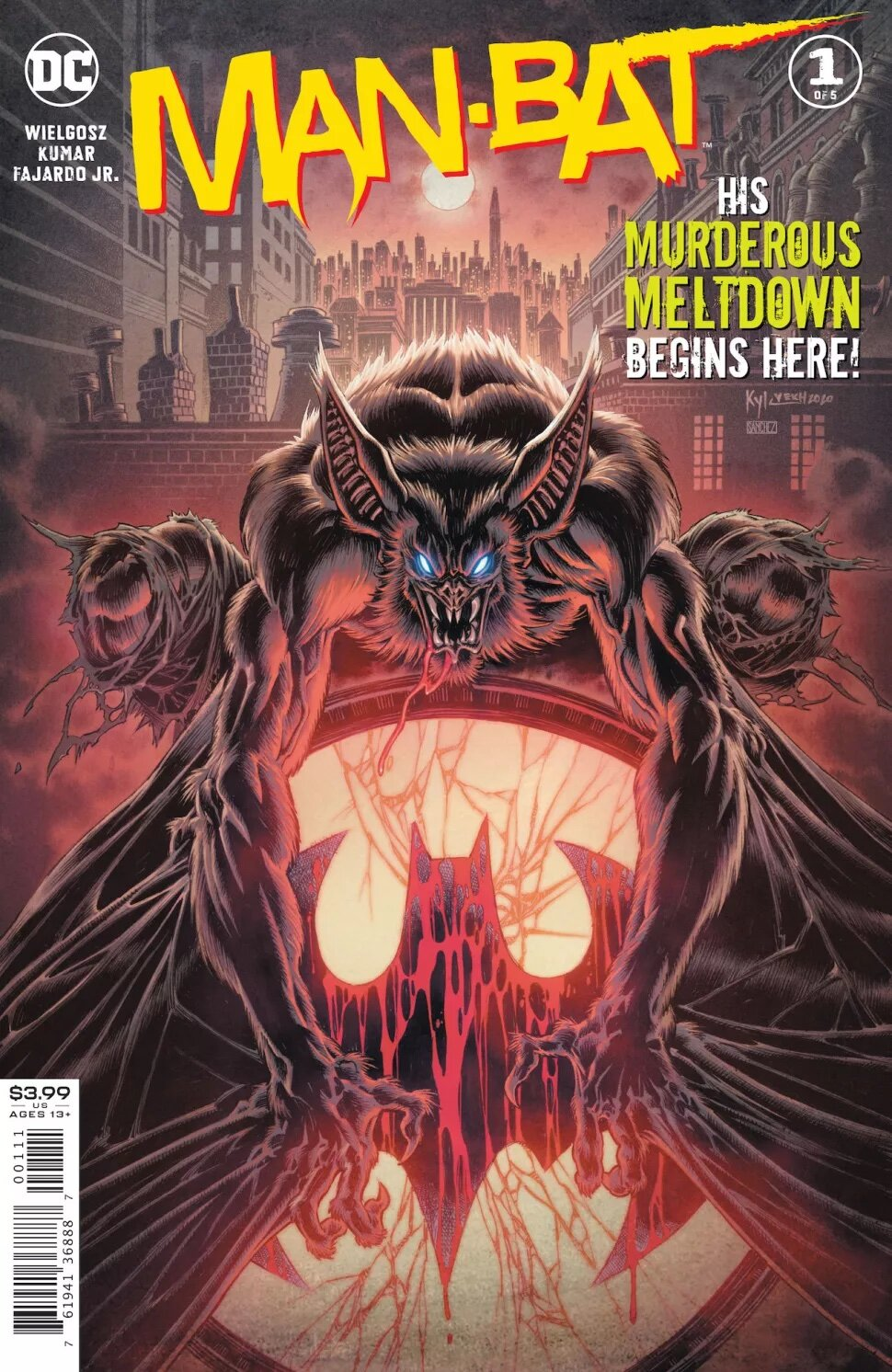 """SYNOPSIS:  """"Man-Bat is on the run from the law following a horrific night of blood and mayhem on the streets of Gotham City,"""" reads DC's description of the Man-Bat limited series, which puts Langstrom's monstrous alter ego up against several DC heroes.    """"But the police aren't what Kirk Langstrom's monstrous alter ego should worry about… it's Task Force X, better known as the Suicide Squad!,"""" it continues. """"To undo the damage he has caused, Man-Bat must seek a cure for the innocents he has injured, all while staying out of the deadly sights of the world's most dangerous mercenaries!"""""""