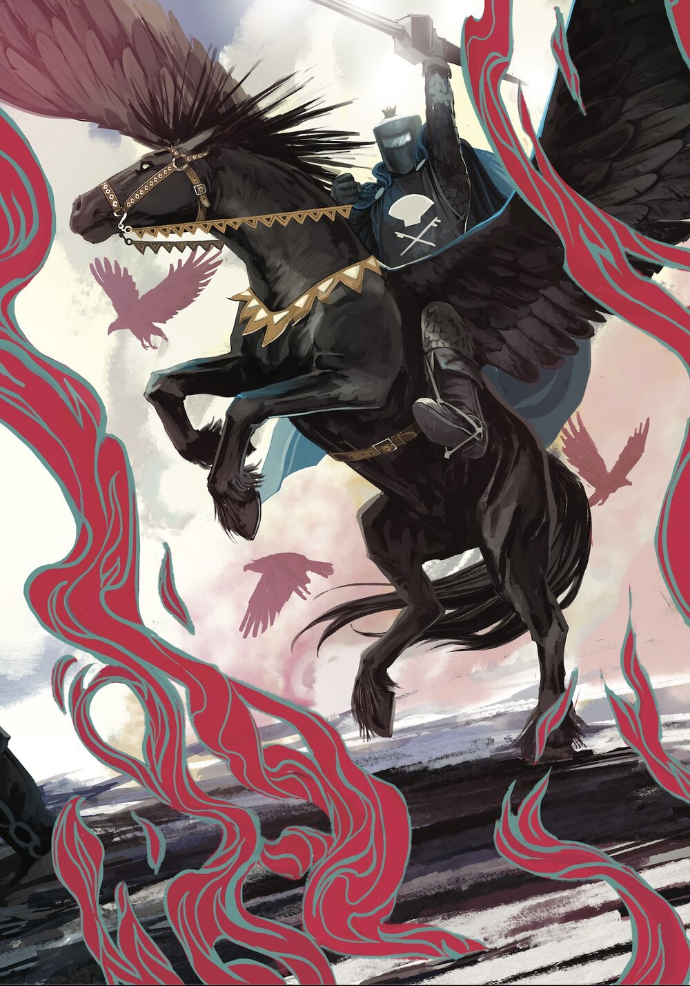 CURSE OF THE EBONY BLADE #2 (OF 5) - FEB210555   Written by SIMON SPURRIER  Art by SERGIO DÁVILA  Cover by IBAN COELLO  Legend of the Black Knight Variant Cover by STEPHANIE HANS - FEB210556   On Sale 4/21