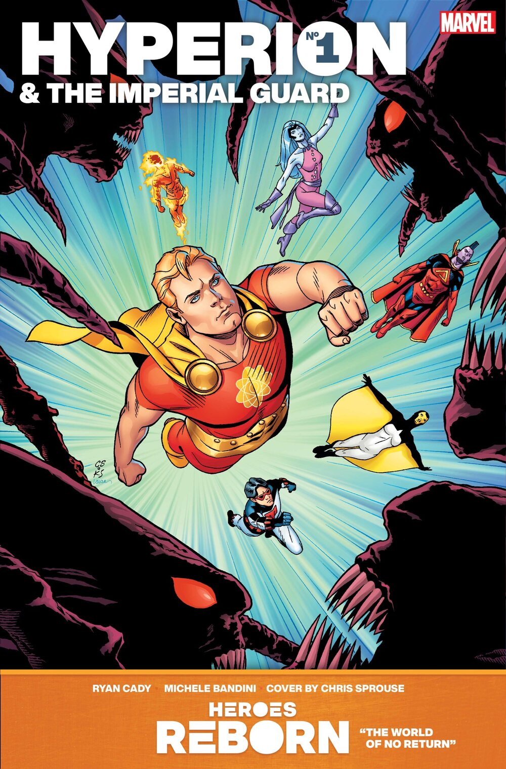 HEROES REBORN: HYPERION & THE IMPERIAL GUARD #1  Written by RYAN CADY  Art by MICHELE BANDINI  Cover by CHRIS SPROUSE  On Sale 5/12/21