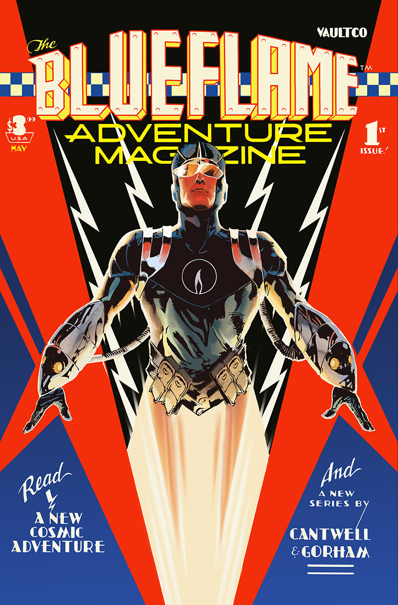 The Blue Flame  #1 will hit store shelves in May 2021, and will debut with a special Vault Vintage cover from  Nathan Gooden and  Tim Daniel  that pays homage to  Dave Stevens ' legendary cover to  Rocketeer Adventure Magazine #1 .