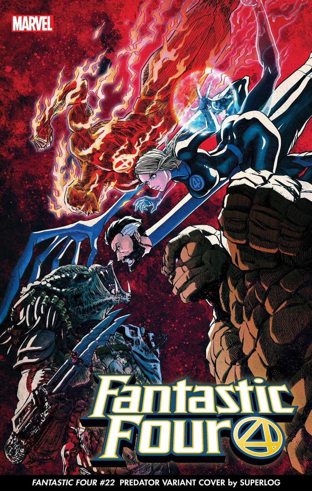 FANTASTIC FOUR #32 PREDATOR VARIANT COVER by SUPERLOG