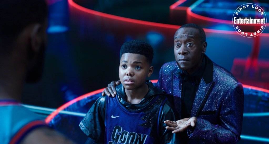 first photos from space jam a new legacy and new story details which includes lebron james passing through other wb films1