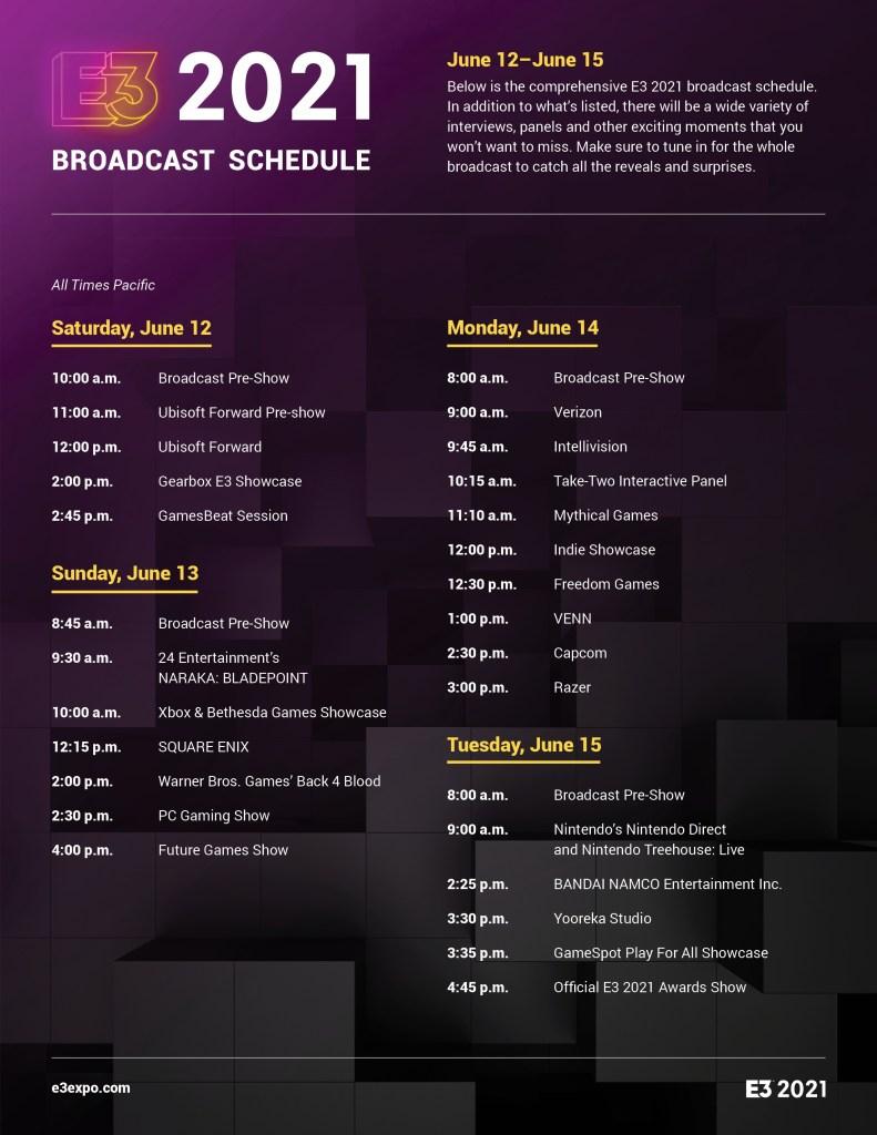 E3 2021 full schedule